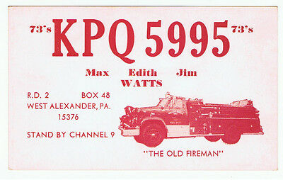 Fire Engine Truck Postcard QSL Card Amateur CB Radio West Alexander Pennsylvania