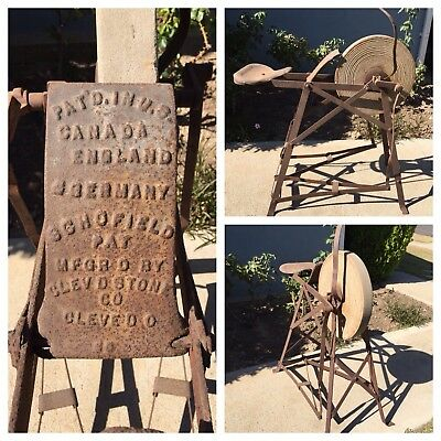 RARE ANTIQUE Schofield Cleveland Stone Company Pedal Powered Grinding Wheel