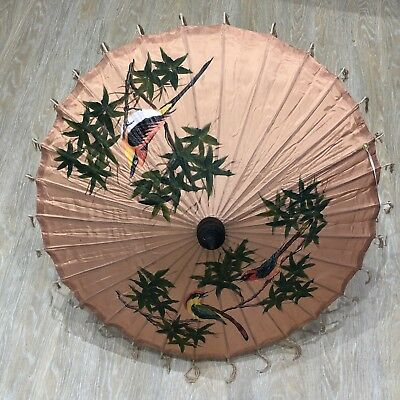 Vintage Silk Parasol Hand Painted Peach Flesh Pink Chinese Bamboo 1930s