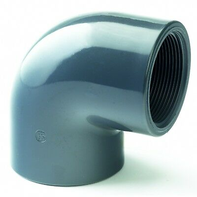 PVC 90o Equal Elbow BSP. Threaded Joiner - Industrial Pressure Grade Plastic
