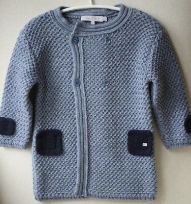 BABY DIOR Light Blue Grey Chunky Knit Cardigan Coat 12 Month 1 Year