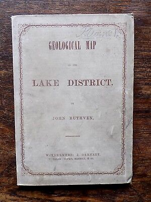 1855 Ruthven Geological Map Lake District Original Covers Booklet Antique SCARCE
