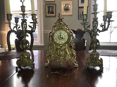 Lancini Brass Rococo / Baroque Ornate Mantle Clock with 2 Candelabras and Key