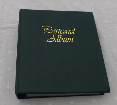 Green Postcard Album With Approx 60 Double Sided Empty Sleeves  VGC A2