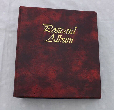Dark Red Postcard Album With Approx 52 Double Sided Empty Sleeves VGC A3