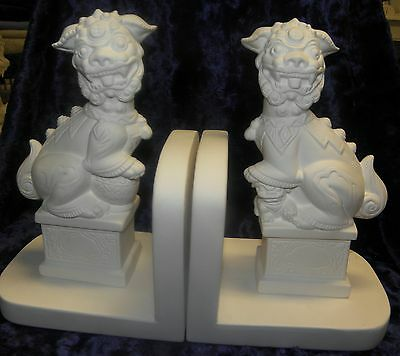 Ceramic Bisque Ready to Paint Foo Dogs Bookends x 2