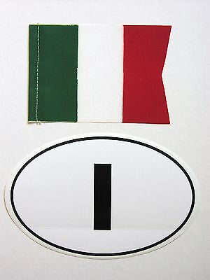 Original 1970's ITALIA flag/banner and ITALY oval vinyl sticker Vespa Lambretta