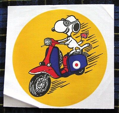ORIGINAL 1980's UK backpatch Snoopy on a Lambretta GP scooter Vespa mod target