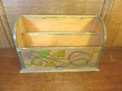ANTIQUE Arts and Crafts HAND PAINTED small WOODEN LETTER RACK - 21cms width