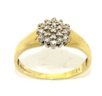 Ladies Womens 18ct 18carat Gold Ring Set With A Cluster Of Diamonds Uk Size M 370 36 Picclick