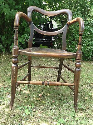 Pair Rare Antique Kidney Back Carver Chairs for Repair / Restoration