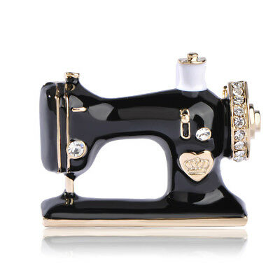 Fashion Sewing Machine Brooch Pin Gold Plated Enamel Brooches Lady Men Food Gift