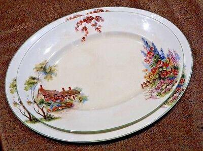 WOODS IVORY WARE FLORAL GREEN BANDED OVAL PLATE SET x 2