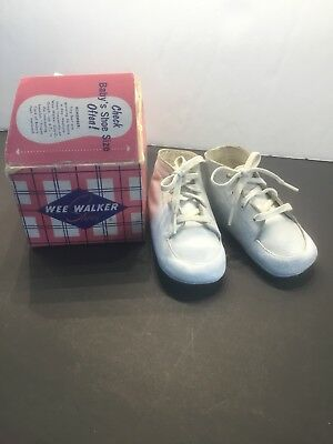 Vintage Wee Walker White Leather Baby Shoes Size 1
