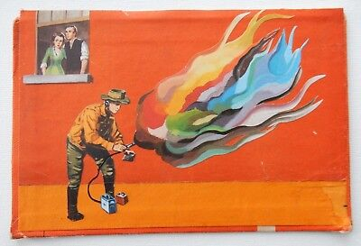 Original Art: Small Mixed Media Collage on Vintage Book - Fire Desire
