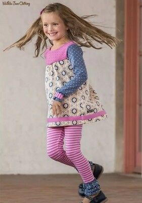 Matilda Jane Between The Pages Leggings Girls Pink Stripe Blue Ruffle Size 8 New