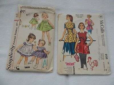 2 Vintage Sewing Patterns-1 Toddler Dress & 1 Ladies Cobbler Apron