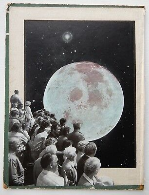 Original Art: Small Mixed Media Collage on Vintage Book - Moon Watchers