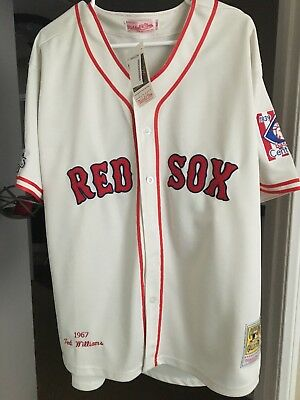 Mitchell   Ness Ted Williams Boston Red Sox Cream MLB Jersey Men s Size 50  NWT 00e3b7578bf