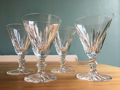 """4 Waterford Ireland Cut Lead Crystal EILEEN Red Wine Claret Glasses Stems 5 1/4"""""""