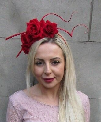 Red Rose Flower Statement Feather Fascinator Headband Headpiece Races Hair 6647