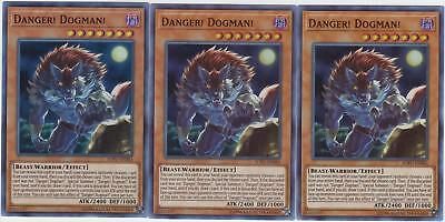 Yugioh! 3x Danger! Dogman! - SOFU-EN083 - Super Rare - Unlimited Edition Near Mi
