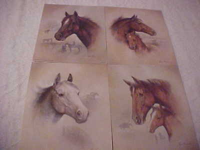 Horse Prints (4) by Ruane Manning, 1992 Donald Art Co. Lithor