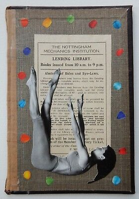 Original Art: Small Mixed Media Collage on Vintage Book - Reaching for Glory