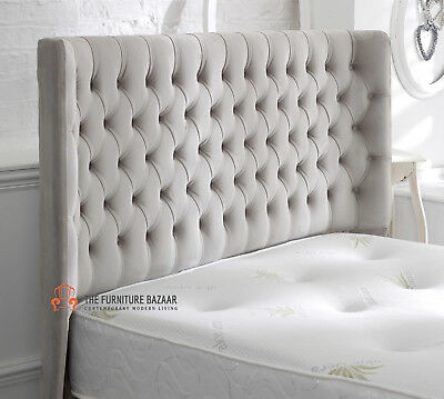 Luxury Harewood Curved Winged Chesterfield Upholstered Floor Standing Headboard