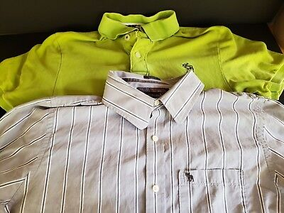 Lot of 2 Mens Shirts Button Up Polo Size XXL Abercrombie Striped Green Blue