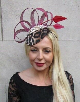 Burgundy Wine Red Gold Leopard Animal Print Feather Hat Fascinator Hair 6657