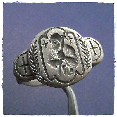 ** SAINT ** ancient  SILVER STAMP BYZANTINE RING !!!RARE!!!!PERFECT!!!