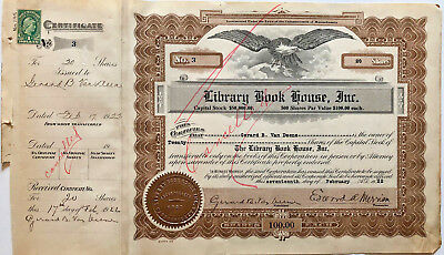 Library Book House > 1922 Massachusetts stock certificate issued to president