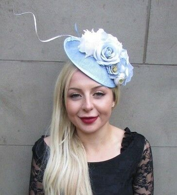 Light Blue Ivory Cream Rose Feather Floral Disc Saucer Hat Fascinator Hair 6661