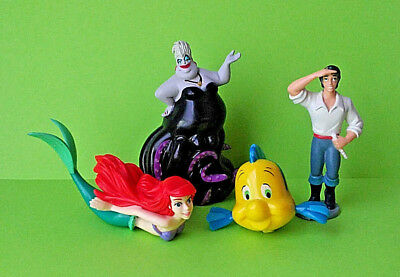 The Little Mermaid Toy Action Figure Disney Ariel Ursula Eric Flounder Lot of 4