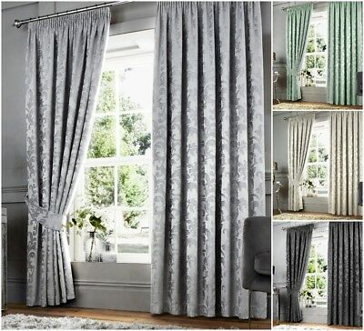 Luxury Woven Chenille Jacquard Floral Leaf Lined Pencil Pleat Tape Top Curtains