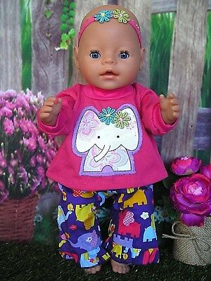 """Dolls clothes  for 17"""" Baby Born  doll~PINK ELEPHANT TOP~ELEPHANT PANTS~HAIR BOW"""