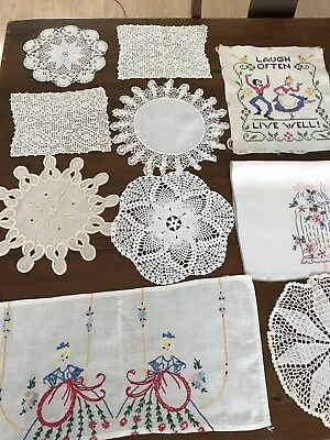 Vintage Doilies Lot Table Rounds Lace Crocheted Stitched Lot of 10 (2)