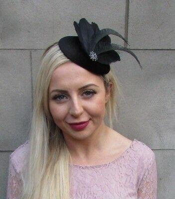 Black Feather Velvet Pillbox Hat Fascinator Hair Races Funeral Cocktail 6666