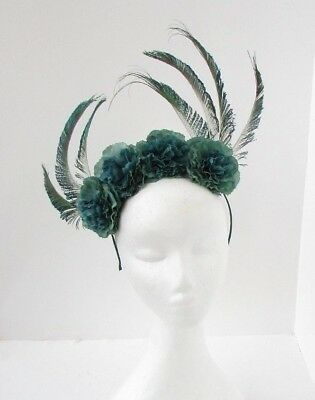 Unique Bottle Dark Green Flower Peacock Feather Fascinator Headband Races 6668