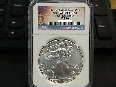 "2014(W) Silver Eagle ""purple Heart"" Label Ngc Ms70 Early Releases!"