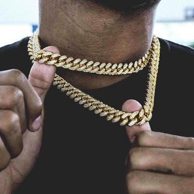 "14k Miami Cuban Link Diamond Iced Out Gold Plated 16""-30"" Hip Hop Chain Necklace"