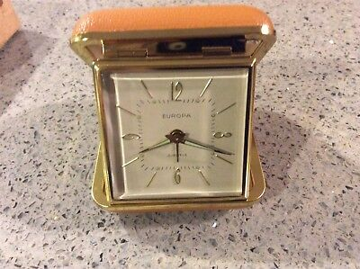 Vintage Europa Travel Alarm Clock in Tan Folding Case Germany 2 Jewel-NIB