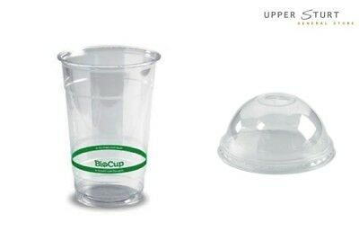 Clear Cups and Lids 100 BIOPAK 500ML Thickshake Milkshake Fruit Salad Disposable