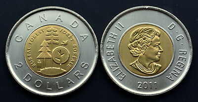 1911-2011 100th ANNIVERSARY THE PARKS OF CANADA $2 TOONIE Boreal Forest