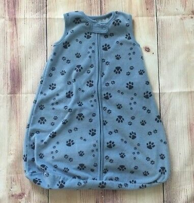Carter's Small Sleeveless Blue Paw Print Sleeping Sack Wearable Blanket