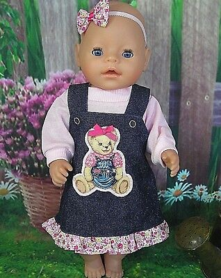 """Dolls clothes for 17"""" Baby Born doll~TEDDY BEAR DENIM PINAFORE~PINK TOP~HAIR BOW"""