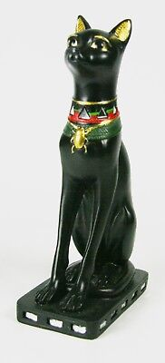 Bastet Egyptian Pharaoh Goddess Sculpture - Cat Figurine Statue Black -7""