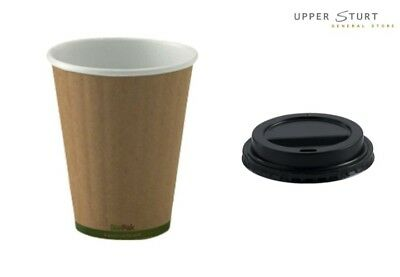 Coffee Cup BIOPAK 8oz Double Wall Brown Disposable with Black Plastic Lids