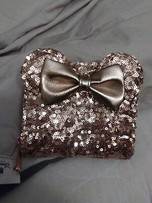 Disney Parks Minnie Mouse Ears Rose Gold Loungefly Wallet New With Tags